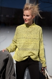 Standing out in the must-have bright lime Alexander Wang sweater