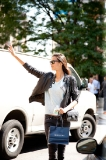 Hailing a cab after Ralph Lauren show