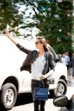 Hailing a cab after Ralph Lauren show