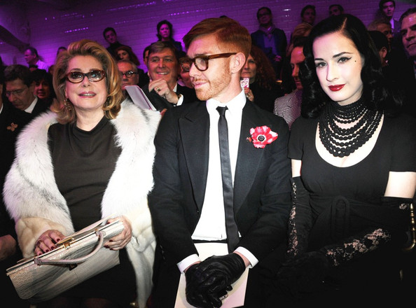 Dita Von Teese and  Catherine Deneuve at Gaultier
