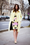 Eleonora Carisi in a canary yellow jacket looks sublime