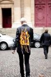 Chasing Kate Lanphear's flame jacket leaving the Haider Ackermann show