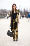 After the John Galliano show, a bright outfit from Opening Ceremony