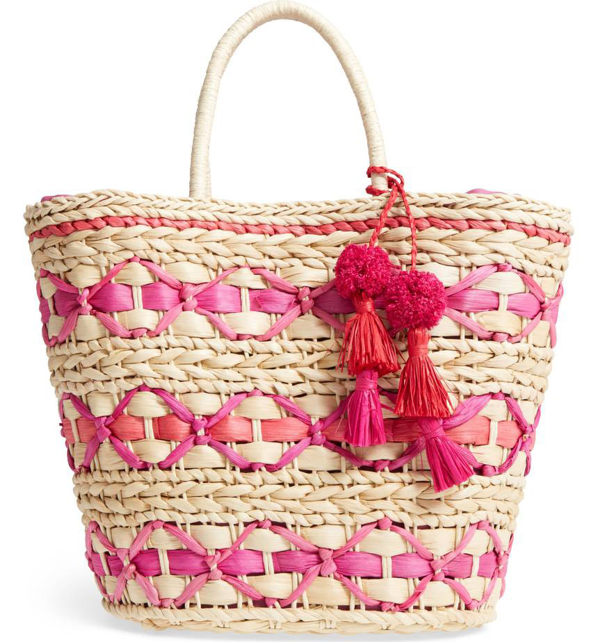 Nordstrom  Raffia and Straw Basket Bags Are the Surprising City Essential for Spring 2018 nordstrom color pop woven tote