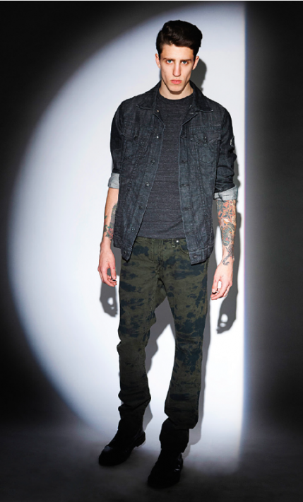 MOTORCYCLE JACKET IN RAW BLACK AND NEW MARLON JEAN IN SALT GREEN ARMY