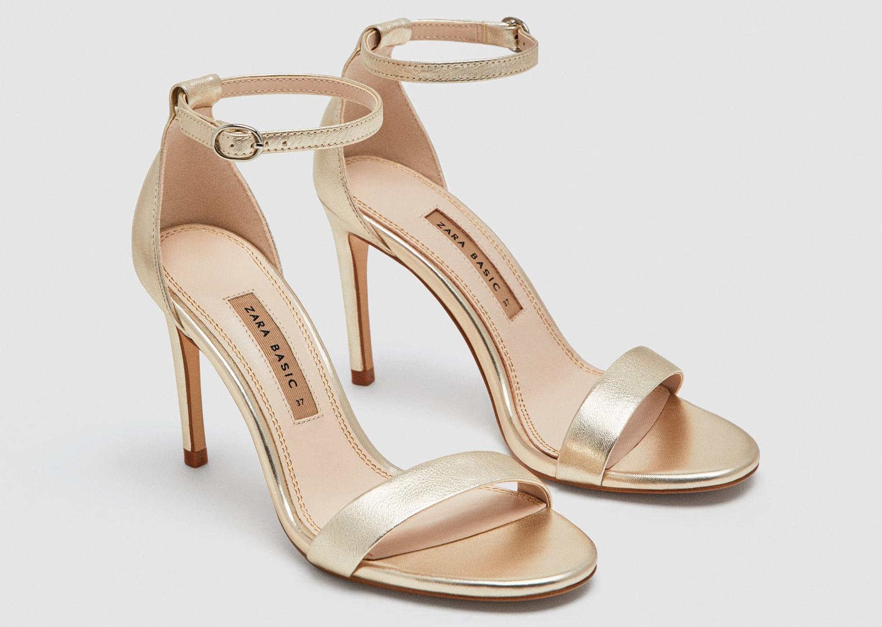 Metallic Ankle Strap Sandal Save: Zara