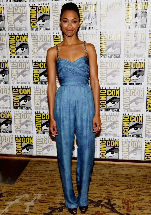 Zoe Saldana at the Guardians of the Galaxy Press Line