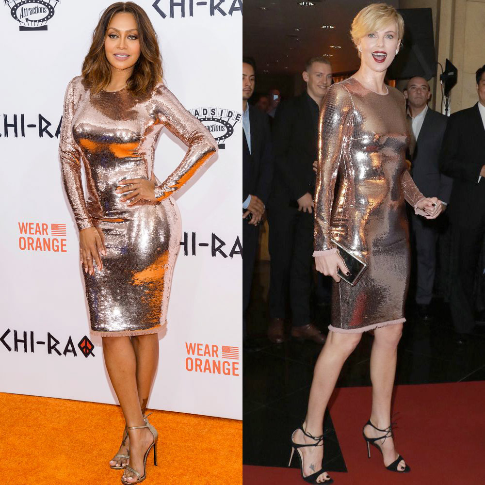 Style showdown which celeb styled it best thefashionspot la la anthony and charlize theron in tom ford freerunsca Images