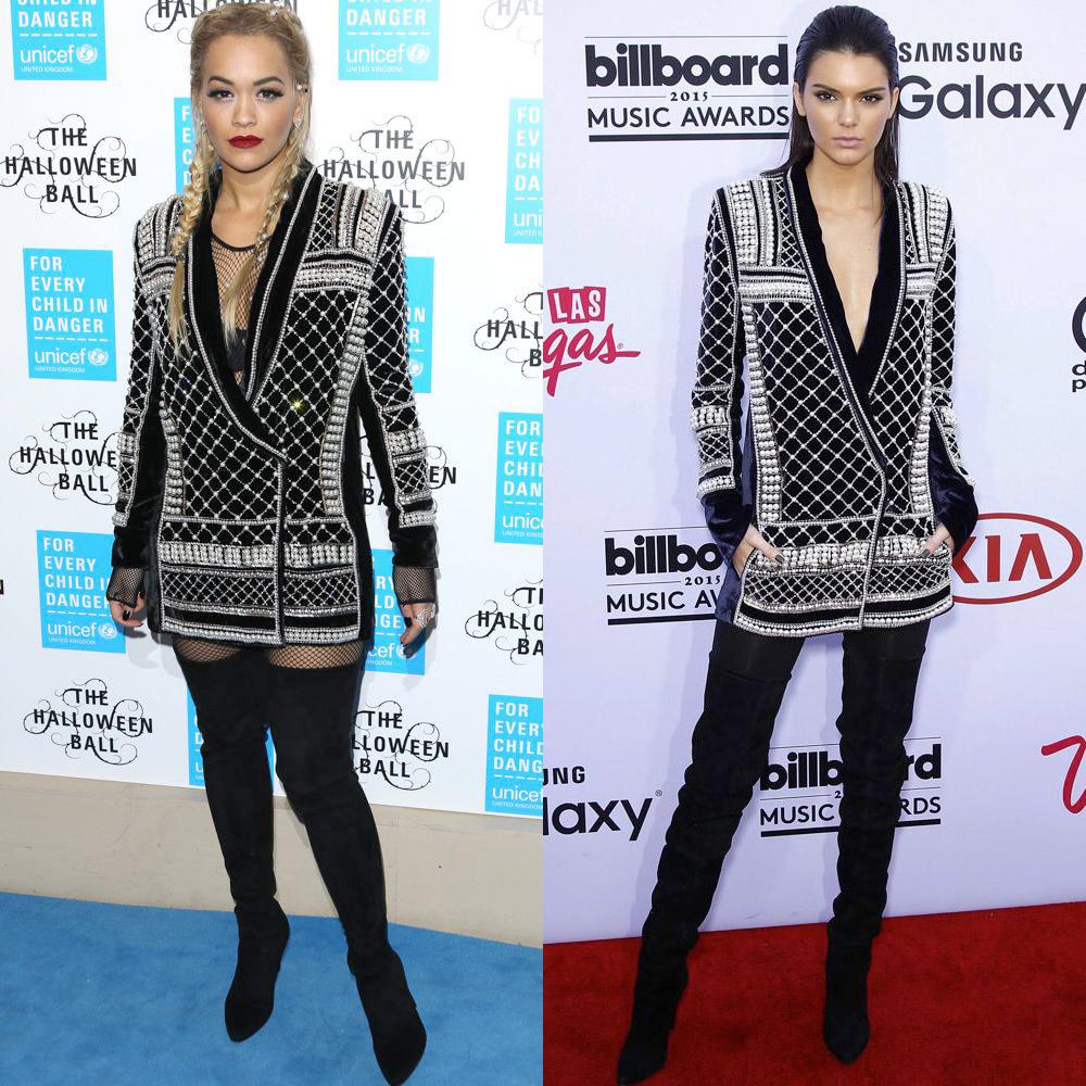 Rita Ora and Kendall Jenner in Balmain x H&M
