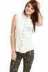 Sleeveless Studded Button-Down Top, Galaxy-Print Leggings