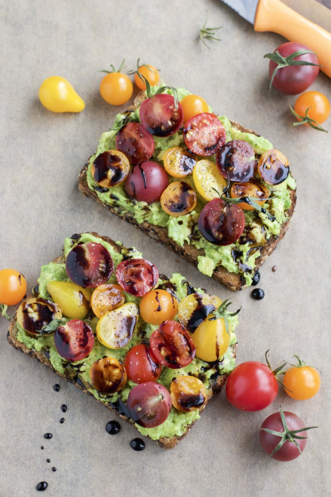 Cherry Tomato Balsamic Avocado Toast