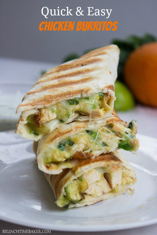 Quick and Easy Crispy Chicken and Avocado Burrito Wraps
