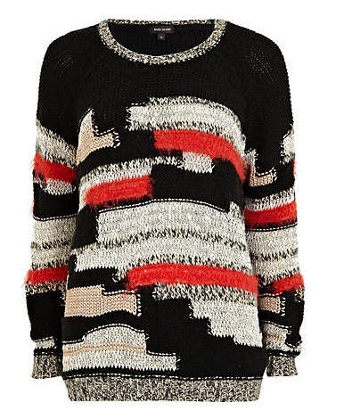 River Island Black Mixed Knit Jumper