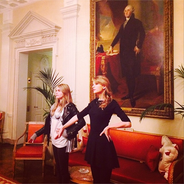 Taylor Swift and Cara Delevingne Play Presidents
