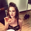 Christa B. Allen Chows Down On Set