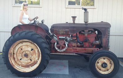 Jaime King on a Tractor
