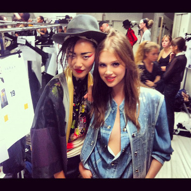 Anais Pouliot Backstage with Liu Wen