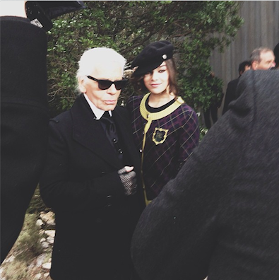 Hailee Steinfeld and Karl Lagerfeld at Couture Week