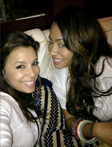 Eva Longoria and La La Watch the Super Bowl