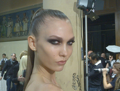 Karlie Kloss Backstage at Versace