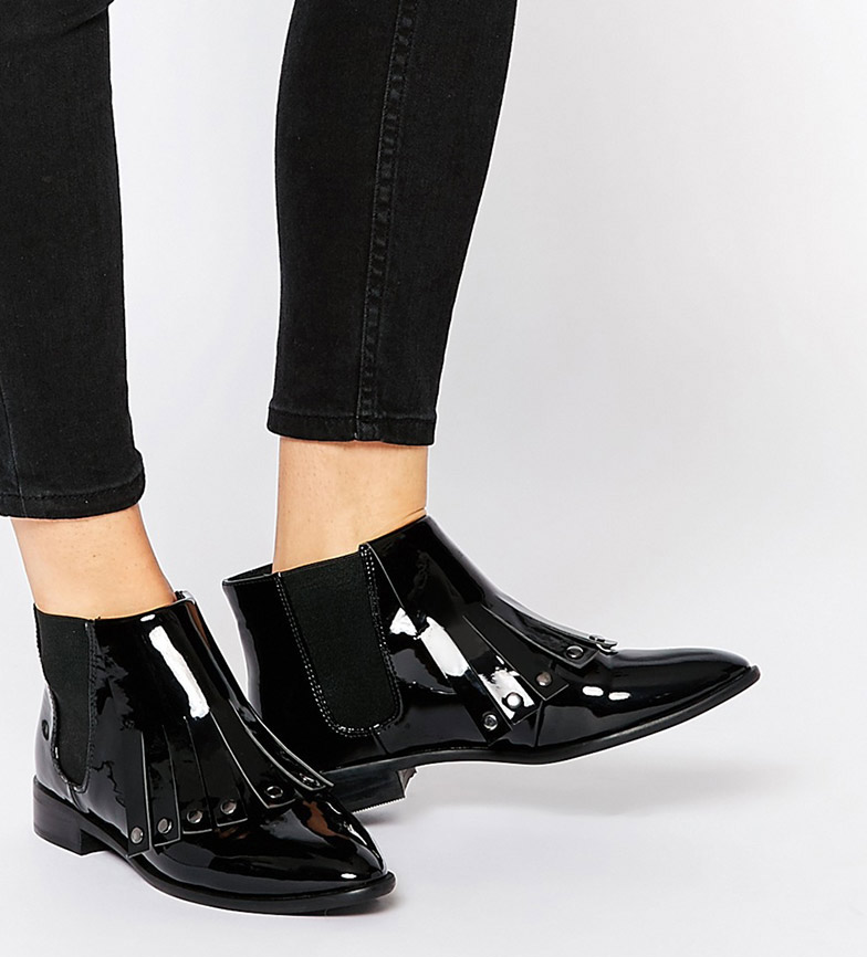 Glossy Ankle Boots