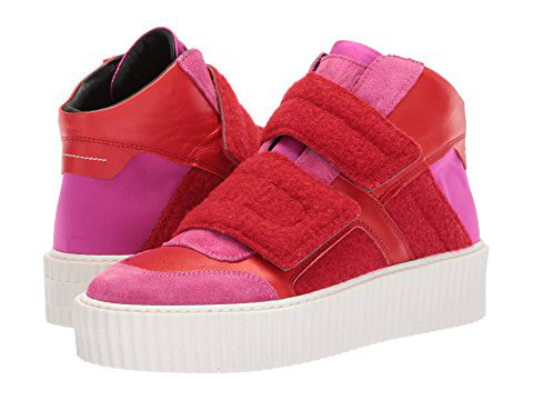 MM6 Maison Margiela  Velcro Sneakers Are the Latest 'Ugly' Shoes to Be Embraced By the Fashion Set mm6 maison margiela hook and loop high top pink red pink red