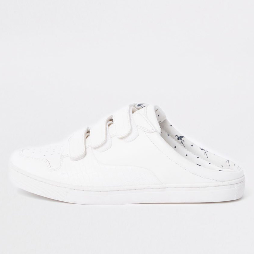 River Island  Velcro Sneakers Are the Latest 'Ugly' Shoes to Be Embraced By the Fashion Set rivler island white backless velcro sneakers