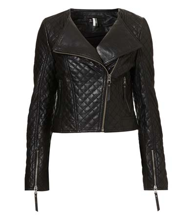 Topshop Quilted Collarless Biker Jacket