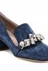 Miu Miu Jeweled Denim Loafer Pumps