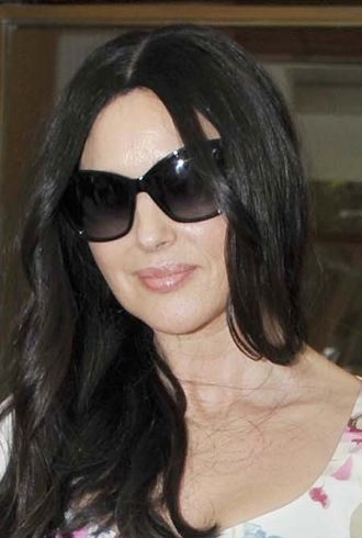 Monica Bellucci arrives at her hotel Ischia Island Italy cropped