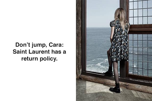 Cara Develingne for Saint Laurent