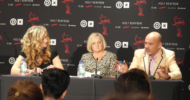 Christian Louboutin, Designer, Shauna Levy, President of the Design Exchange, and Donna Loveday, Exhibition Curator.