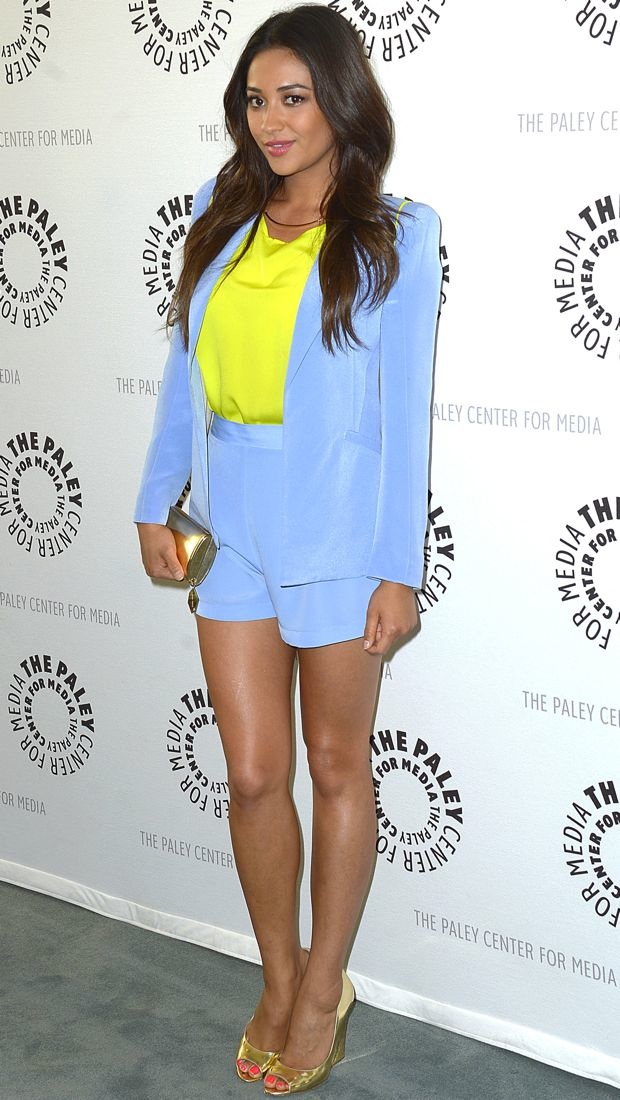 Shay Mitchell Wears Periwinkle Naven Short Suit Set