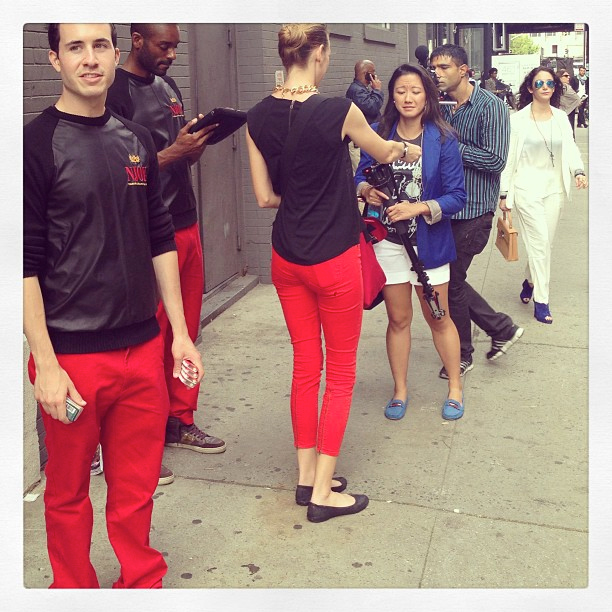 NJOY street team outside Milk Studios / Image: Instagram/TheFashionSpotOffical