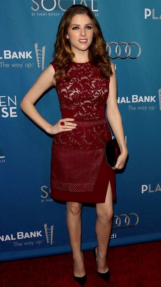 Anna Kendrick Heads Backstage In An Oxblood J Mendel