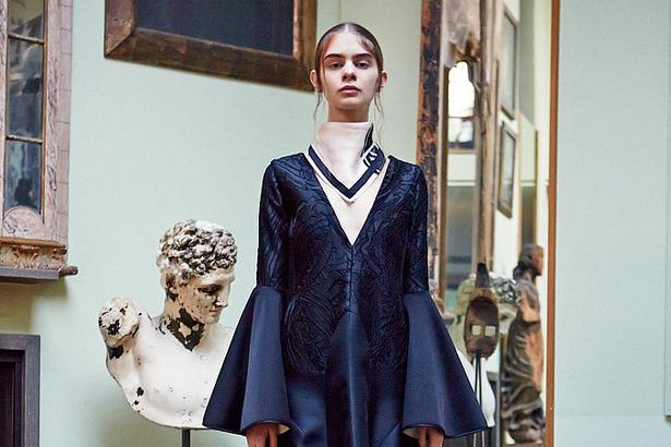 A blue brocade gown from Australian fashion designer Ellery