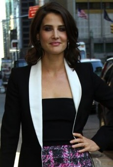 Cobie Smulders Takes New York in a Tweed Monique Lhuillier Dress