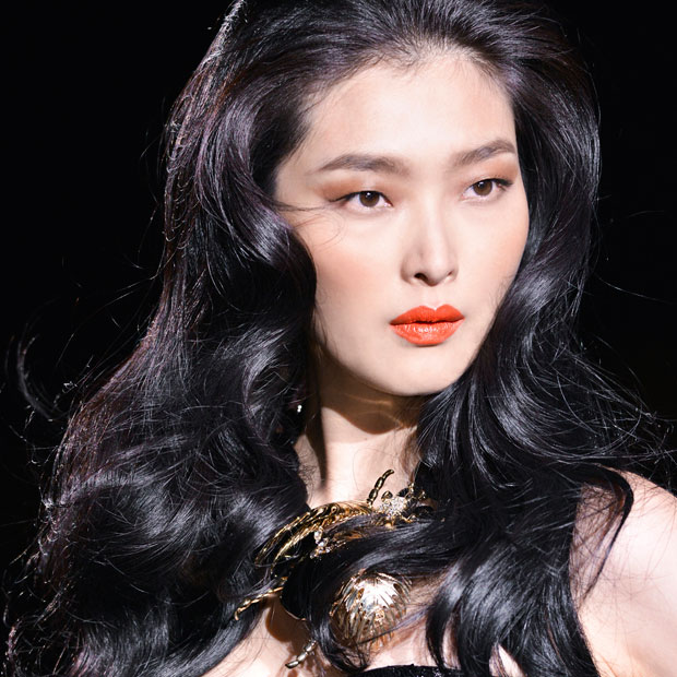 curled hair from DSquared Spring 2014