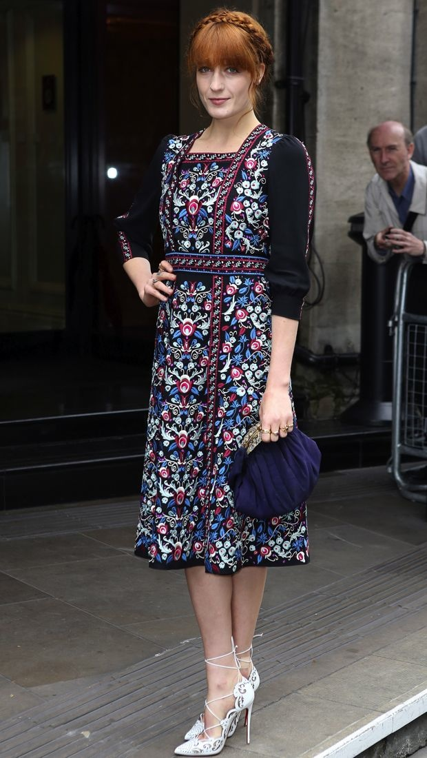 Florence Welch wears a folk-inspired Vilshenko Fall 2014 embroidered dress