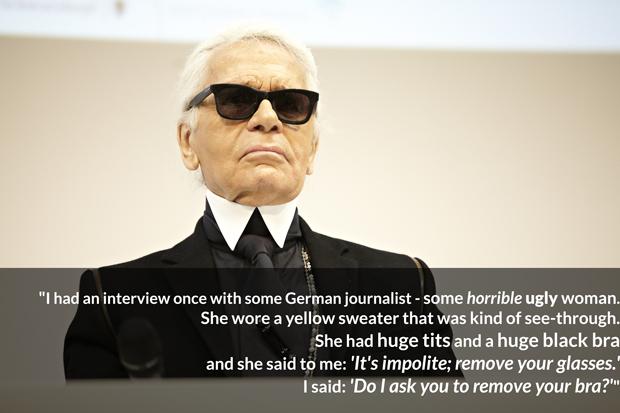 Karl Lagerfeld Bitchy Female Journalist