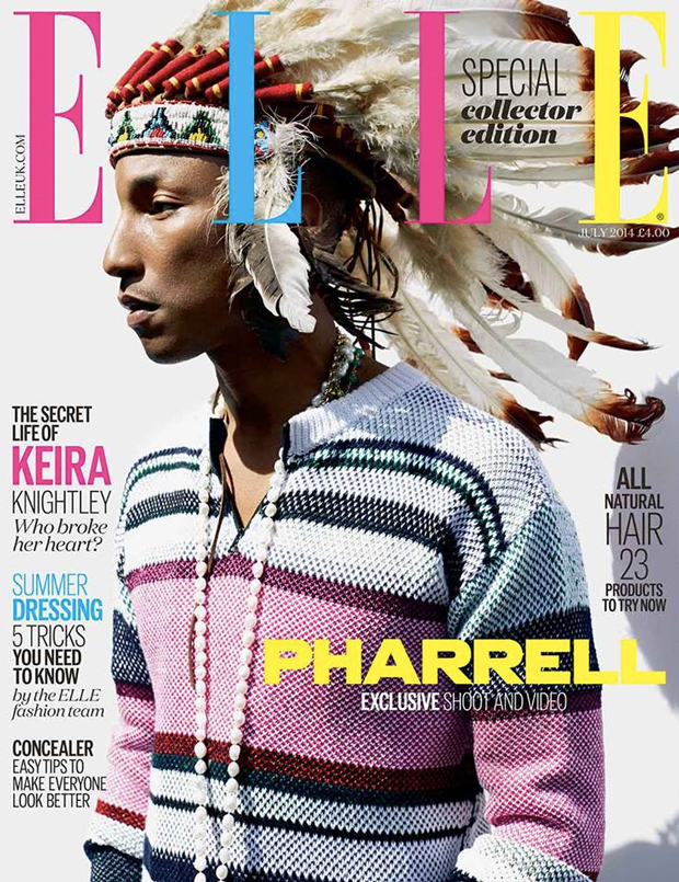 pharrell native american headdress elle magazine cover