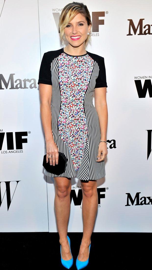 Sophia Bush mixes prints in a striped floral print Sportmax dress