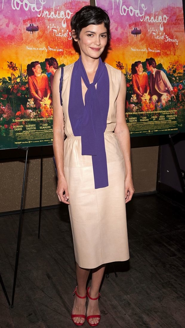 Audrey Tautou proves to be a mix master in a colorblock Prada dress