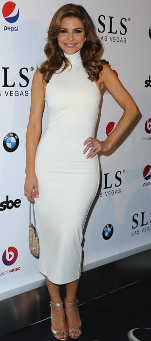 Maria Menounos rocks a white Torn by Ronny Kobo dress to the SLS Las Vegas grand opening celebration