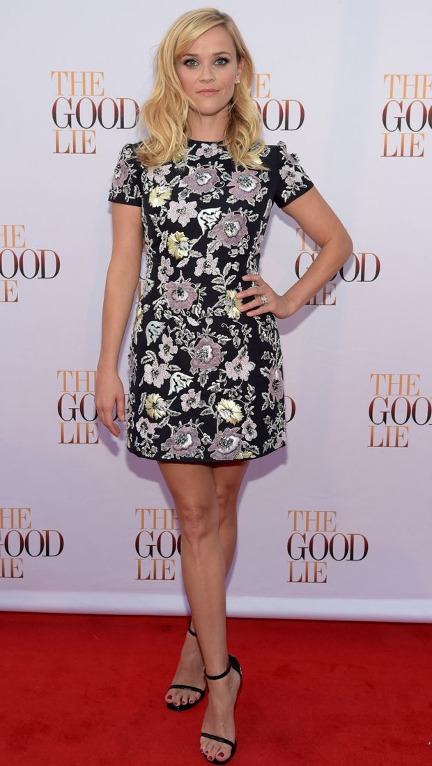 Reese Witherspoon looks stylish in an embellished Christian Dior dress
