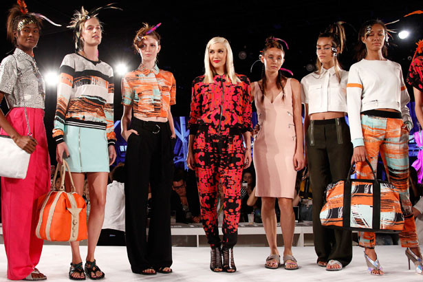 Designer Gwen Stefani and models pose on the runway at the L.A.M.B. Spring Summer 2015 NYFW Presentation
