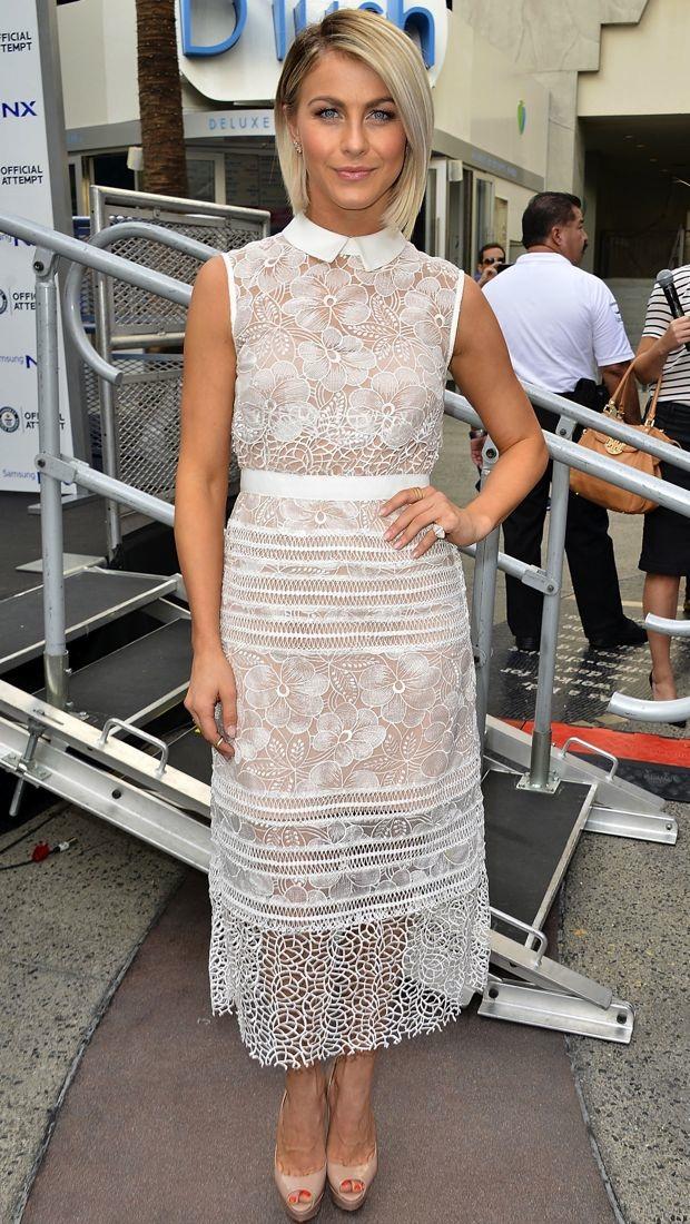Julianne Hough goes sheer in a white Self-Portrait dress