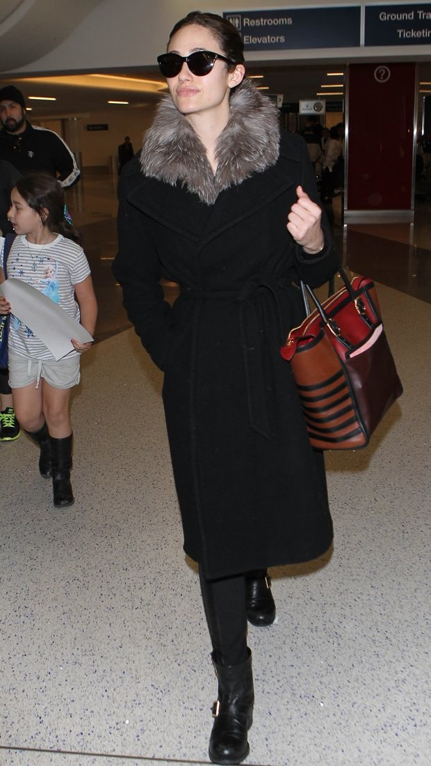 Emmy Rossum travels in style at LAX