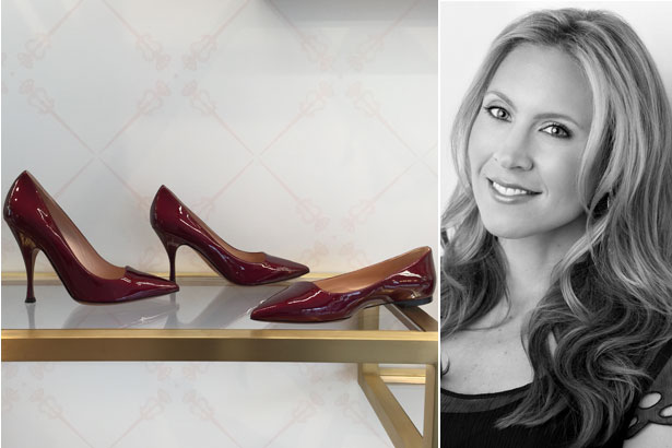At right, Lauren's favorite styles from the collection: the Bordeaux patent leather Vivienne, Valentina and Vixen heels and flats. Right: Lauren Brusch. Photo: Courtesy of Lauren Bruksch.