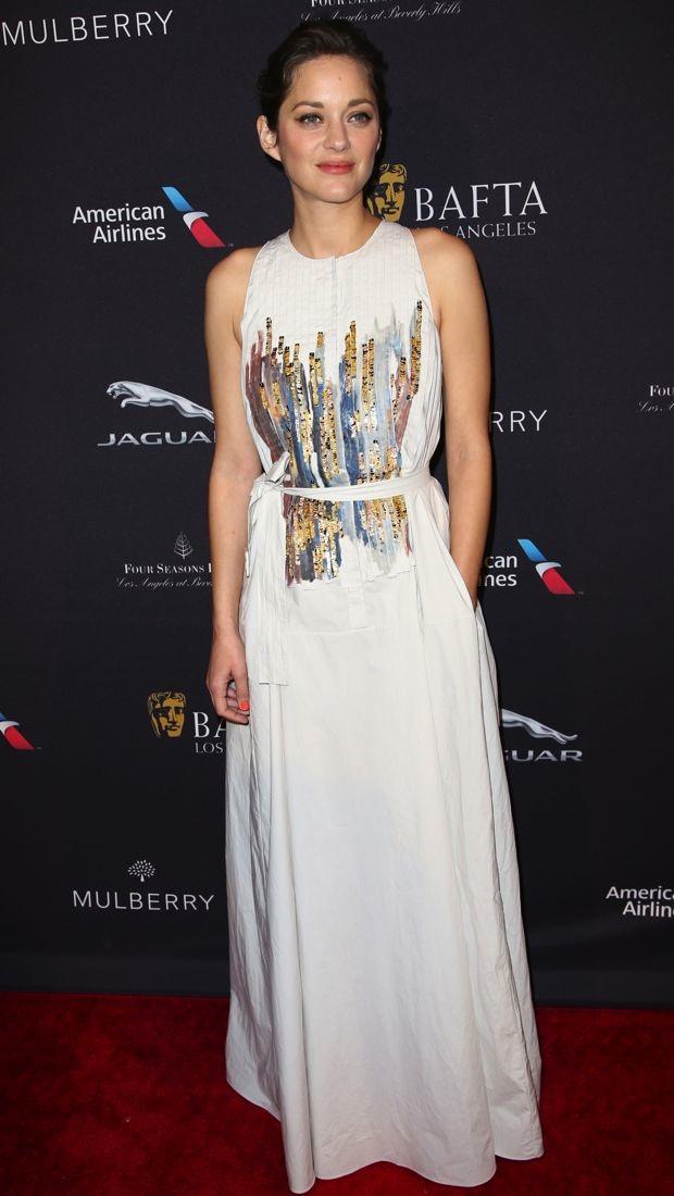 Marion Cotillard wears a Bottega Veneta gown to the BAFTA Los Angeles Tea Party